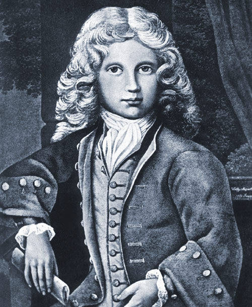 Mozart in 1766 without a wig